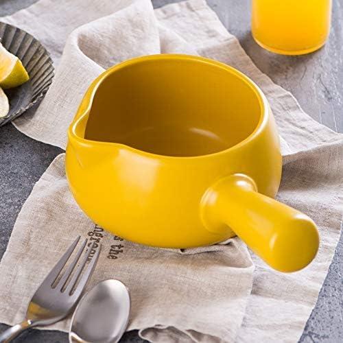 weiwei Casserole en céramique à poignée Unique Casserole à Lait pour bébé Soupe aux Nouilles à poignée Unique Casserole antiadhésive Casserole à ragoût Jaune