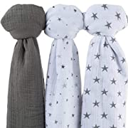 Muslin Swaddle Blanket 100% Soft Muslin Cotton 3 Pack 47 x 47  (Grey Stars)