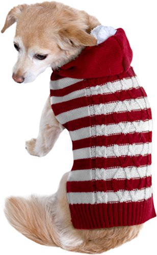 Cozy Knit Ugly Sweater Furry Stripe Pet Dog Cat Christmas Holiday Clothes Costume Apparel (Extra Large Christmas Dog Costumes)