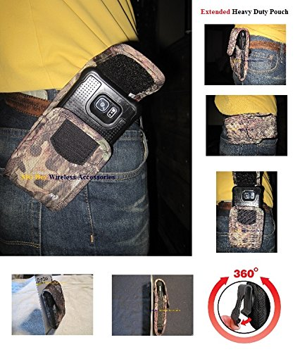 Nite Ize Camouflage Camo Mossy Oak Extended Wide Cargo Heavy Duty Rugged XX-large Holster Pouch Swivel 360 Rotating Clip Fits Motorola Droid /Maxx XT1080m W/Hybrid /Otterbox Cover Case On Cellphone