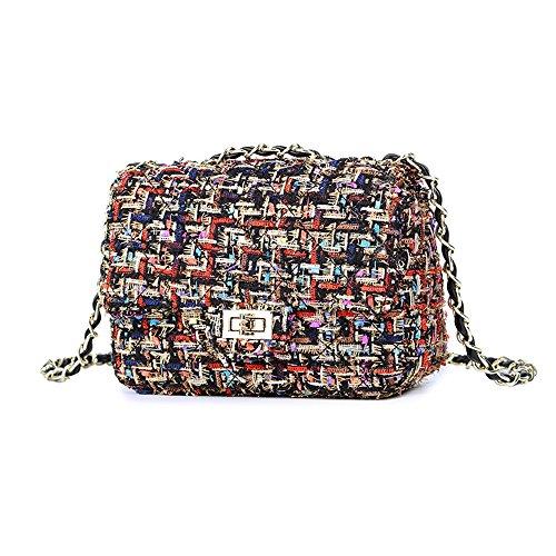 Women's Tweed Handbag Quilting Envelope Cross Body Shoulder Bag (S, Multicolor)