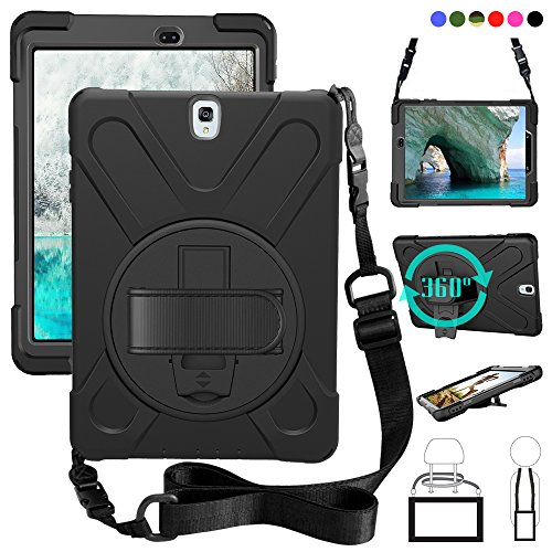 (Galaxy Tab S3 9.7 T820 Case, Shock-Absorption/High Impact Resistant Heavy Duty Armor Cover with Handstrap Strap Shoulder Belt Rubber Carry Work Holder for Samsung SM-T820 T825 9.7 inch Tablet(Black))