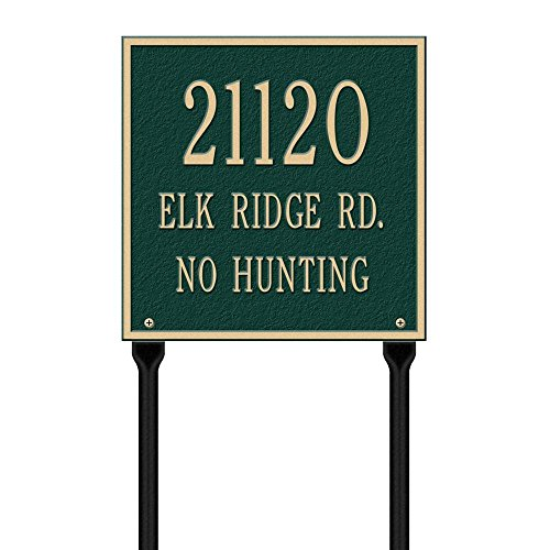 (Whitehall Products Square Standard Lawn 3-Line Address Plaque - Green/Gold)