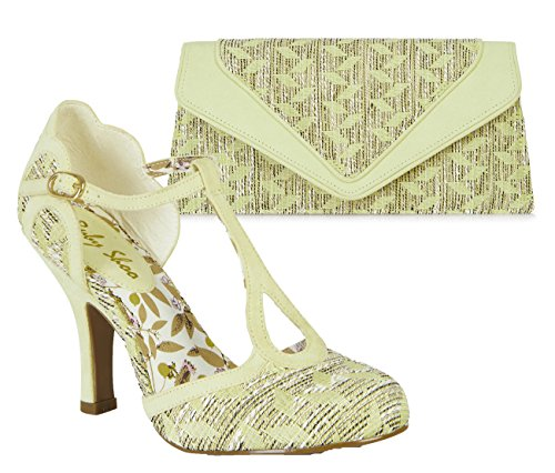 Ruby Shoo Women's Lemon Fabric Polly Mary Jane Pumps & Manila Bag UK 7 EU 40 by Ruby Shoo