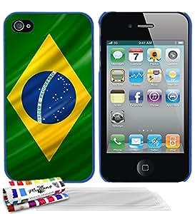 """Carcasa Rigida Ultra-Slim APPLE IPHONE 4S de exclusivo motivo [De Brasil Bandera] [Azul] de MUZZANO  + 3 Pelliculas de Pantalla """"UltraClear"""" + ESTILETE y PAÑO MUZZANO REGALADOS - La Protección Antigolpes ULTIMA, ELEGANTE Y DURADERA para su APPLE IPHONE 4S"""