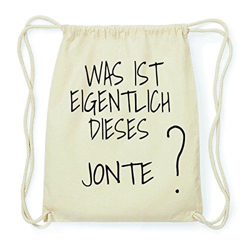 JOllify JONTE Hipster Turnbeutel Tasche Rucksack aus Baumwolle - Farbe: natur Design: Was ist eigentlich