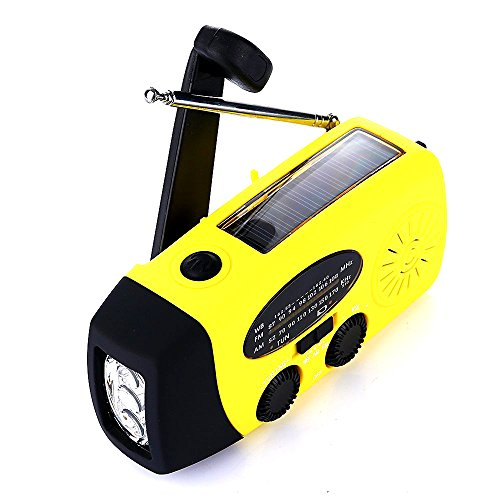 Emergency Hand Crank Self Powered AM/FM/WB(NOAA) Solar Weather Radio with LED Flashlight, 1000mAh Power Bank Charger Survival Kit for USB Devices, Smart Phones -Yellow by LECASE