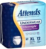 Attends Incontinence Care Underwear for Adults, Overnight, XL, 12 Count (Pack of 4)