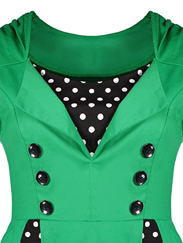 1950s Retro Swing Rockabilly Dot Cocktail Midi Dress Green CharMma Women's Polka wqCPw5
