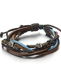 Skulls Multi-strand Brown Blue Leather Rope Bracelet for Men Women Tribal Wristband Wrap Bracelet