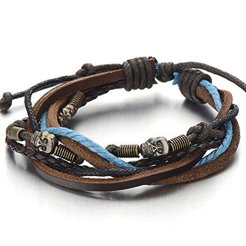 Skulls Multi-strand Brown Blue Leather Rope Bracelet for Men Women Tribal Wristband Wrap Bracelet (Skull Tribal Leather)