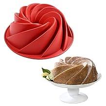 TTLIFE Large Spiral Shaped Bundt Pan, Flower Shaped Bundt Cake Pan Nonstick Silicone Baking Mold Decorating Bundt cake mold