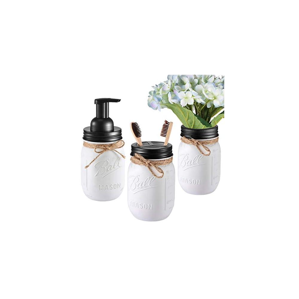 Andrew & Sarah Mason Jar Bathroom Set(3 Piece)-Foaming Soap Dispenser, Toothbrush Holder,Flower Vase,for Wedding House…