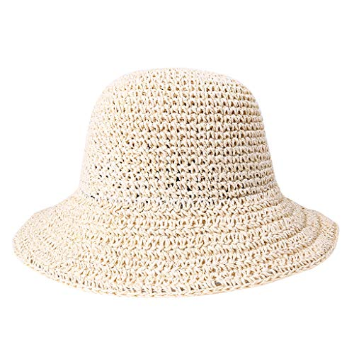 Spring and Summer Women Handmade Foldable Rear Split Strap Fisherman Straw Hat Beige