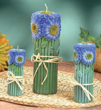 Blue Daisy Pillar Candle Set of 3 (5