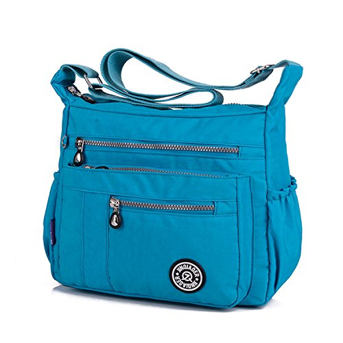 TianHengYi Nylon Blue Zipper Cross Women's Pockets body Lightweight Sky Shoulder Bag Casual Bag Messenger 2 with rEqrP46BW
