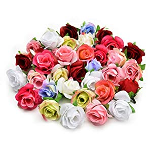 Fake flower heads in bulk wholesale for Crafts Silk Rose Artificial Flower Wedding Home Furnishings DIY Wreath Birthday Decor Sheets Handicrafts Simulation Fake Flowers 30pcs 4cm (Colorful) 34