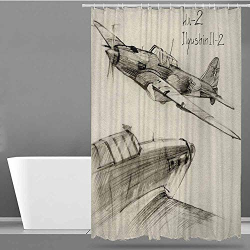 (ONECUTE Bathroom Shower Curtain,Airplane Hand Drawn Series Soviet Military Enginery Jets Flights World War Aviation Sketch,Shower Curtain bar,W55x86L Black Ecru )
