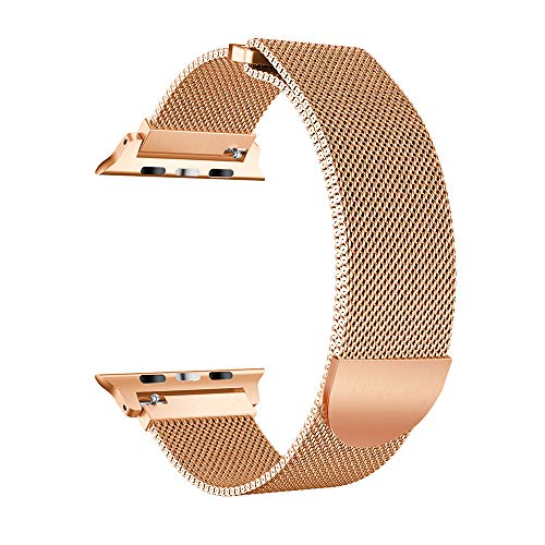 (iVeze Compatible with Apple Watch Bands 42/44mm Plus Protective Case, Stainless Steel Milanese Loop Bands Magnetic Closure Replacement Band Compatible with iWatch Series 4/3/2/1 Rose Gold)