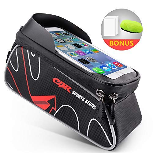 Beusoft Top Tube Front Frame Bike Bag Triangle with Waterproof Touch Screen Phone Case for Samsung Galaxy s7 s6 Note 7 Cellphone Under 6.3 Inch