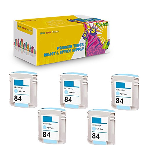 New York TonerTM New Compatible 5 Pack C5017AN HP 84 High Yield Inkjet For HP Designjet 10PS | 20PS | 50PS . -- Light -