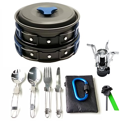 17Pcs Camping Cookware Mess Kit Backpacking Gear & Hiking Outdoors Bug Out Bag Cooking Equipment Cookset | Lightweight, Compact, & Durable Pot Pan Bowls (Blue)