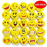 Pack of 100 Emoji Erasers - 6 Different Funny Emoticon Designs - Great for Party Bag Favors, Piñata Fillers, Xmas Stocking, Pinata Stuffers, School Supply, Birthday Gifts, Christmas and Prizes