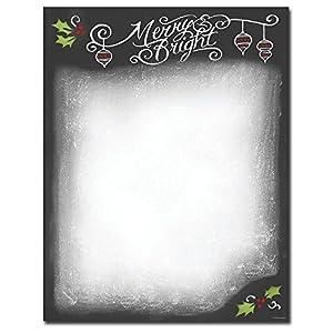Amazon.com : Christmas Chalkboard Holiday Letterhead Printer Paper ...