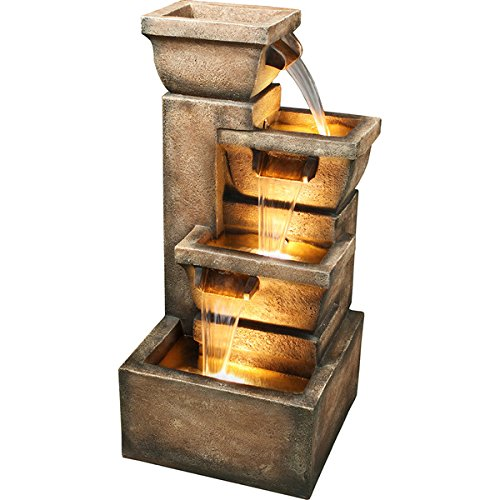 Copper Faux Stone Finish 33 inch Zen Outdoor Backyard Water Fountain by Bond