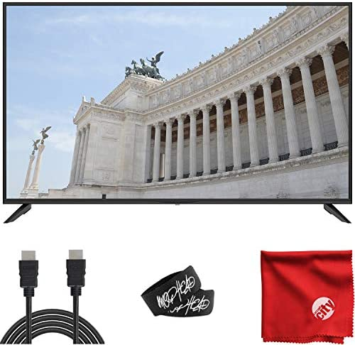 Sansui 55-Inch 4K UHD DLED Smart TV (S55P28UA) Ultra-Light Slim Built-in HDMI, USB, High Resolution Bundle with Circuit City 6-Foot High Definition 4K HDMI Cable, Microfiber Cloth and 2X Cable Ties