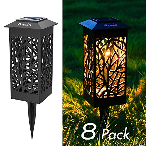 OxyLED 8 Pack Solar Path Lights LED Garden Pathway Lights Solar Powered Auto On/Off Landscape Lighting Security Light for Garden Yard Patio Lawn Backyard Driveway Walkway Christmas Decors