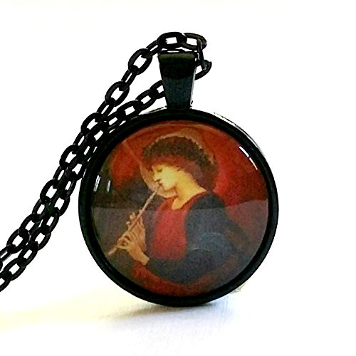 Art Georgia Glass (Musician Angel Necklace | Art Glass Pendant | Choir Gifts | Burnes-Jones Art | Christmas Gift | Hostess Gift | Religious Gift)