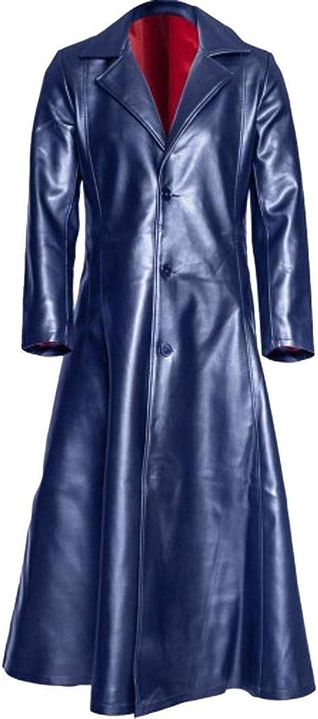 BaZhaHei Abrigos de Hombre Chaqueta GóTica de Moda Abrigo Largo Chaqueta de Cuero de ImitacióN Chaquetas Abrigo de Cuero con Cuello Grande y Solapa Suelta para Hombre S-5Xl