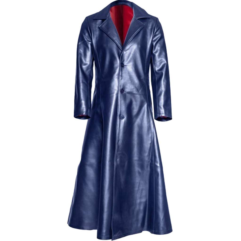 Mens Retro Leather Vintage Long Coat Trench Steampunk Gothic Jacket Overcoat (XXXL, Dark Blue) by sweetnice man clothing