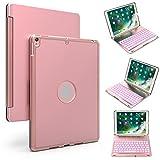 iPad Pro 10.5 Keyboard Case,YOUNGFUN 7-Color Backlits Auto Sleep/Wake Smart Flip Cover Aluminum
