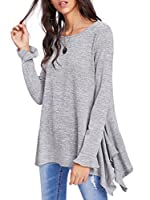 SheIn Women's Loose Scoop Neck Long Sleeve Asymmetric Ruffle Hem Knit Top