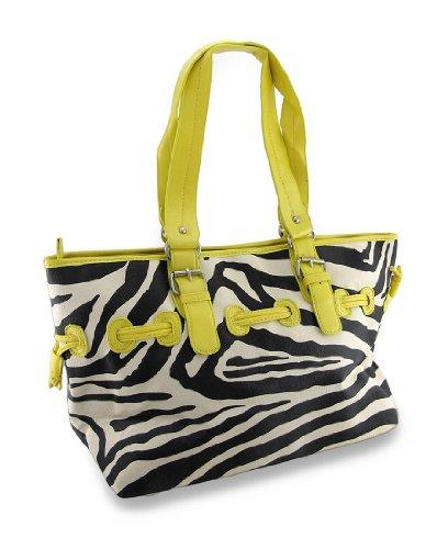 Zebra Print Drawstring Shoulder Bag Vinyl Womens Handbags Yellow -
