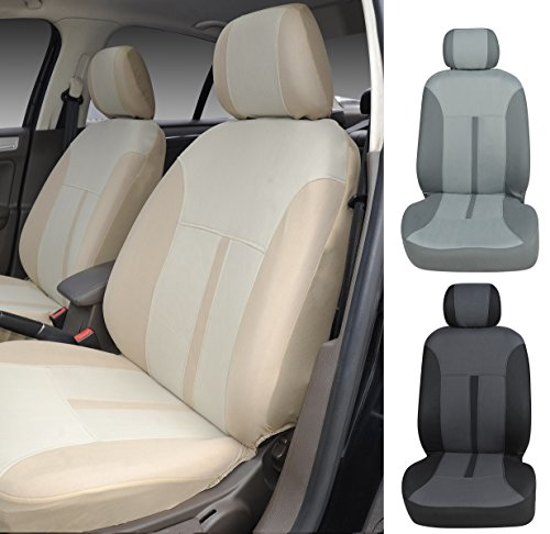 N16103 Tan-Fabric 2 Front Car Seat Covers Compatible To Mercedes-Benz C-Class Sedan E-Class Sedan S-Class Sedan CLS Couple GLA SUV GLC SUV GLE Couple GLS SUV G-Class SUV 2017-2007 (Tan) Mercedes C-class Sedan