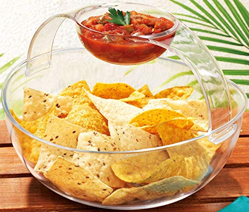 Home Essentials Large Chip N Dip Party Serving Bowl, Removable Handle with Dip Cup turns into Multi-Use Elegant Clear Plastic Bowl