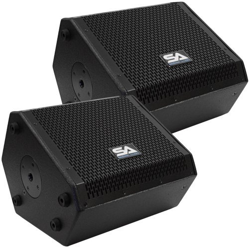 Seismic Audio - SAX-10M-Pair - Pair of Compact 10 Inch 2-Way Coaxial Floor / Stage Monitors with Titanium Horns by Seismic Audio
