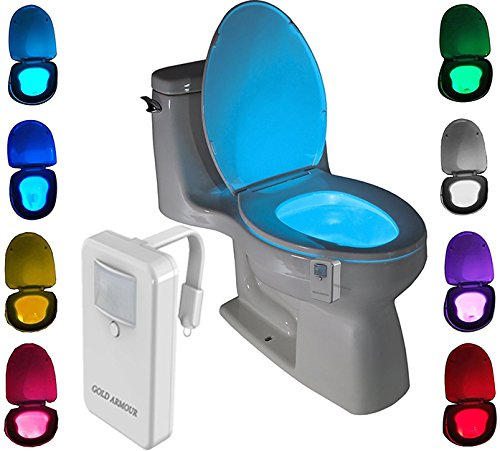 Colorful Motion Sensor Toilet Nightlight , Gold Armour Home Bathroom Motion Activated Sensor LED Night Light Lamp, Great for Potty Training, 16 Color Changing (Only Activates in Darkness)
