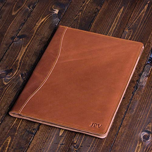 - Monogrammed Distressed Leather Padfolio - Handcrafted Rustic Heavy Duty Cow Hide Legal Padfolio - Personalized Leather Portfolio - Marshall