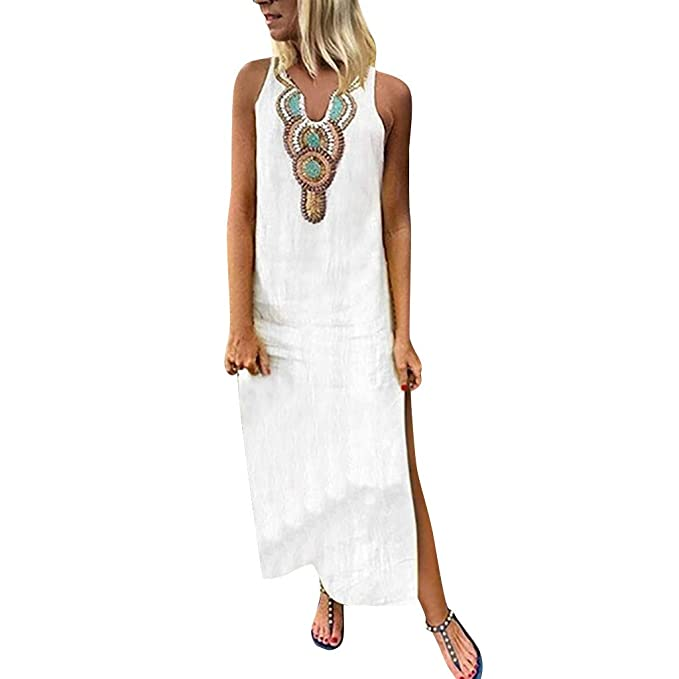 ccf2a2f1aea76 Chenout Women's Fashion Boho Printed Sleeveless V-Neck Sexy Side Slit Dress  Casual Beach Maxi