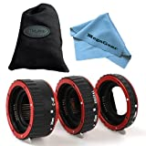 MegaGear Red Metal Auto Focus Macro Extension Tube Set for Canon SLR Cameras CANON EF EF-S Lens