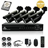 [TRUE 960p HD] SMART CCTV System, KARE 1080N DVR Recorder with 4x Super HD 1.3MP Outdoor Cameras and 1TB Pre-installed Hard Drive Disk (P2P Technology, 1280x960 Bullet Cam Even Better Than 720P, Rapid USB Storage Backup, Vandal and Water-Proof Body, Night Vision, Mobile App: Xmeye)