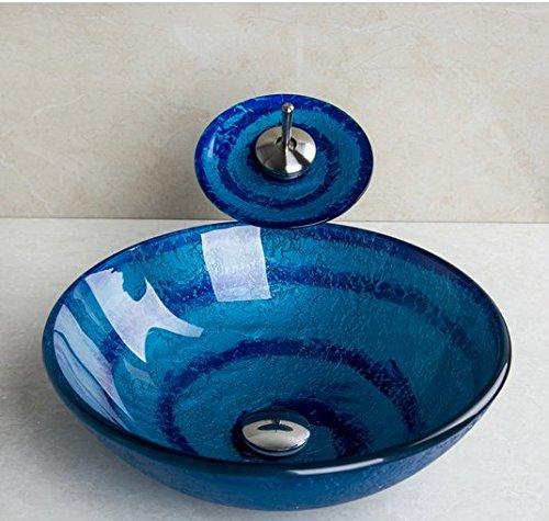 GOWE Blue Bathroom Sink Washbasin Ceramics Hand-Painted Waterfall Glass Lavatory Bath Combine Brass Set Faucet,Mixers & Taps 2