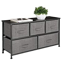 mDesign Extra Wide Dresser Storage Tower - Sturdy Steel Frame, Wood Top, Easy Pull Fabric Bins - Organizer Unit for Bedroom, Hallway, Entryway, Closet - Textured Print, 5 Drawers - Charcoal Gray/Black