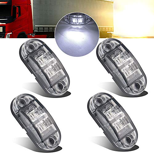 4pcs 12-24V White Side marker Lights Indicator of Position Lamp Front Rear Side Light 6000K Waterproof Universal for Car Trailer Truck Caravan Van Lorry Motorcycle:
