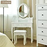 white makeup vanity without mirror White Vanity Makeup Dressing Table with 4 Drawers Bedroom Vanity Dressing Table with Mirror and Drawers for Girls (1 Mirror + 4 Drawer+Stool) White Color