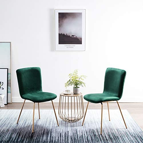 Amazon Com Art Leon Velvet Chairs Mid Century Upholstered Kitchen Dining Chairs With Gold Metal Legs Set Of 2 Green Chairs